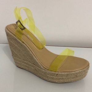 FASHION NOVA See Through Yellow Straps Wedges